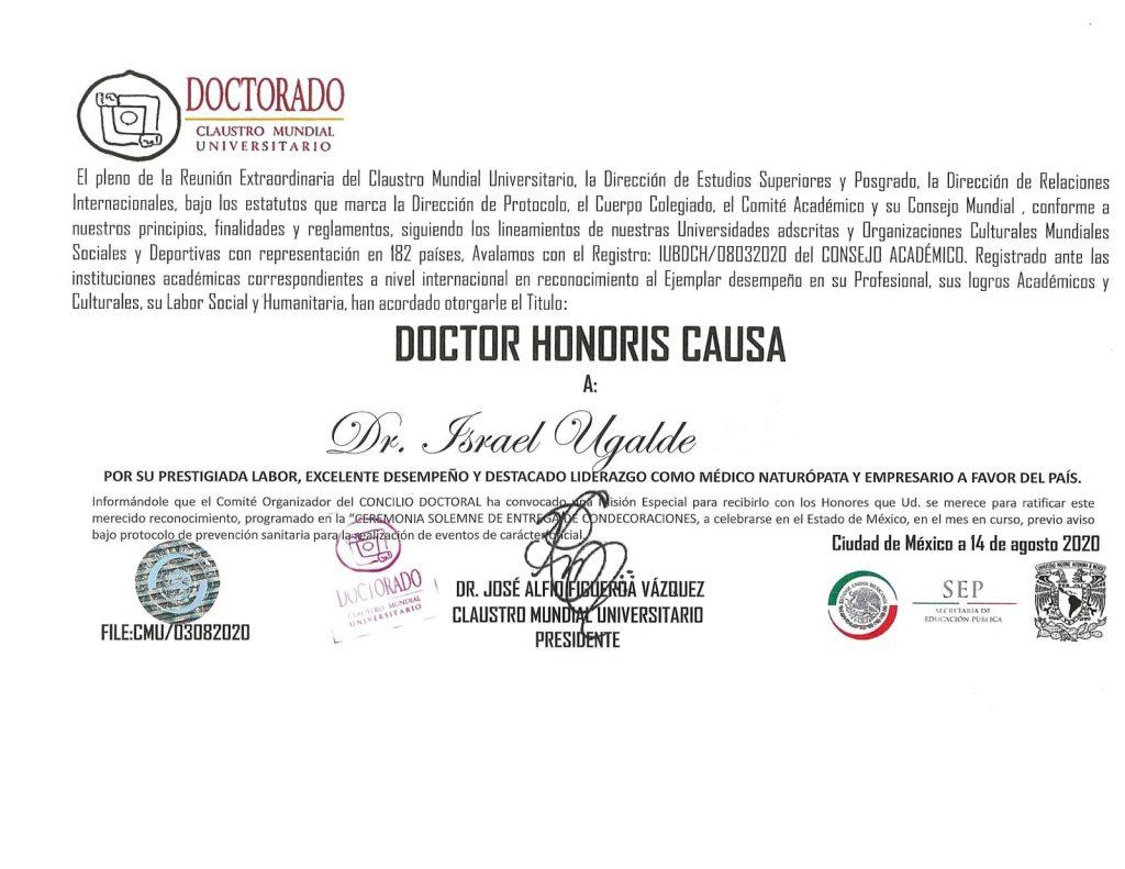 Doctorado Honoris Causa Israel Ugalde